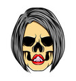 glossy coloured sexy women skull with bob vector image
