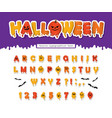halloween pumpkin font paper cut out letters and vector image