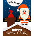 happy new year card santa claus on the roof vector image vector image