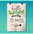hello spring party poster lettering on wood vector image vector image