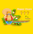 King Mahabali enjoying Boat Race of Kerla on Onam vector image vector image