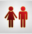 male and female sign red icon on gold vector image vector image