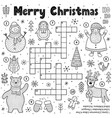 merry christmas crossword game for kids black and vector image vector image