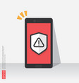 mobile phone with attention warning alert sign vector image vector image