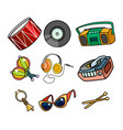 musical objects on white background vector image vector image