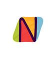 n letter logo in kids paper applique style vector image vector image