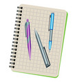 notebook and three pens vector image vector image