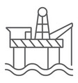 oil rig thin line icon industry and sea oil vector image