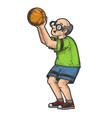 old man basketball sketch vector image