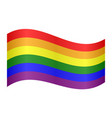 rainbow gay pride flag waving on white background vector image