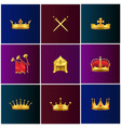 royal gold medieval attributes set vector image vector image