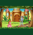 scene with princess and knight vector image vector image