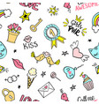 seamless pattern with hand drawn girly doodles vector image vector image