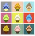 set icons in flat design ice cream cone vector image