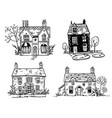 set of pretty english cottages drawing vector image vector image