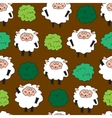 Sheep and shrubs Seamless pattern vector image vector image