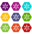 sheriff star icon set color hexahedron vector image vector image