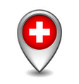 silver metal map pointer with switzerland flag vector image vector image