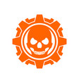 skull gear machine orange vector image vector image