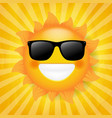 sun with sunglasses isolated sunburst background vector image