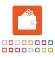 The wallet icon Purse symbol Flat vector image