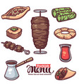 traditional turkish food line art objects vector image