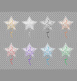 transparent star shape balloons with sparkles set vector image