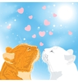 Two beloved cats on sky background vector image vector image