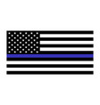 united states flag with blue line to honor police vector image vector image
