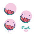 watermelons cute fruits cartoons vector image vector image