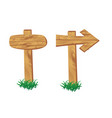 wooden signpost standing in grass set isolated vector image vector image