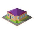 isometric purple roof house vector image