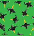 seamless pattern with funny crow vector image