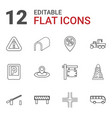 12 road icons vector image vector image