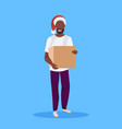african american man wearing red hat holding paper vector image