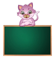 An empty greenboard with a cute cat vector image