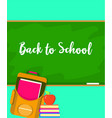 back to school green board background flat style vector image