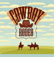 banner for cowboy rodeo with western landscape vector image vector image