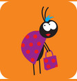 beetle girl with a shopping bag vector image vector image