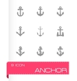 black anchor icon set vector image