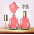 bottle of pink nail polish female cosmetic vector image