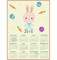 Calendar for 2016 with cartoon and funny bunny vector image vector image