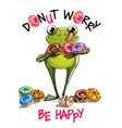 cartoon frog with donuts vector image vector image