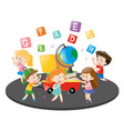 children dancing and singing song vector image vector image
