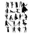 cosplay pose silhouette vector image vector image