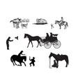 cowboy silhouette set vector image