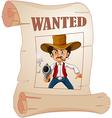 Cowboy Wanted Poster vector image