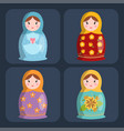 dolls toy matreshka character game dress and farm vector image