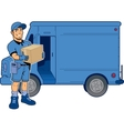 Express Delivery Man and Truck vector image vector image