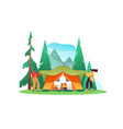 family people making camping tent isolated vector image